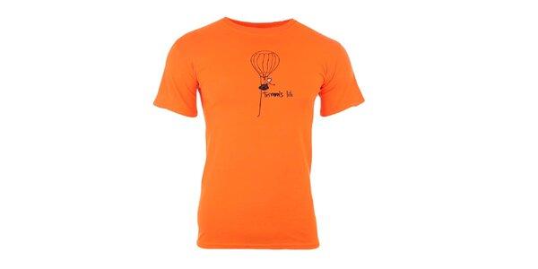 Pánske oranžové tričko s potlačou Trimm