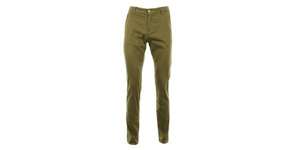 Dámske hnedozelené slim chino nohavice Monkee Genes
