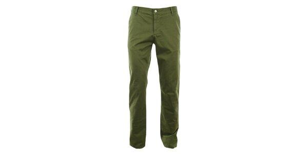 Pánske zelené slim chino nohavice Monkee Genes