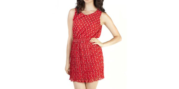 Dámske červené šaty s mačičkami Pepper tree