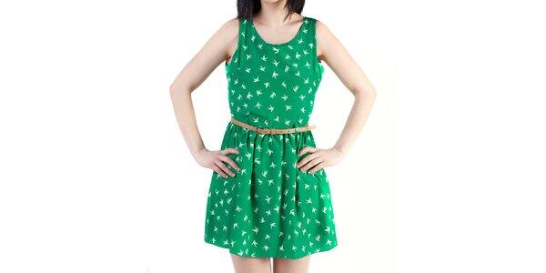 Dámske zelené šaty s prestrihom na chrbte Pepper Tree