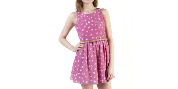 Dámske ružové šaty s prestrihom na chrbte Pepper Tree