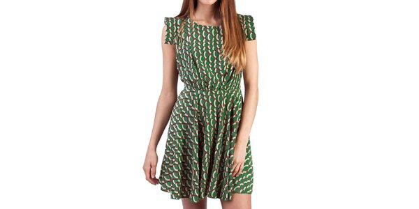 Dámske zelené šaty s farebným vzorom Pepper Tree