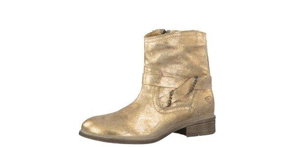 Dámske kožené zlaté čižmy Tamaris