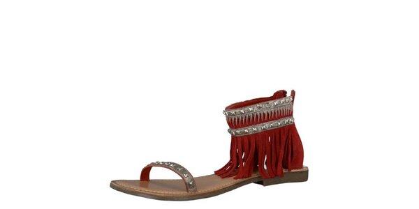 Dámske kožené červené sandále Tamaris