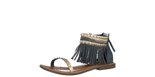 Dámske kožené tmavo modré sandále Tamaris