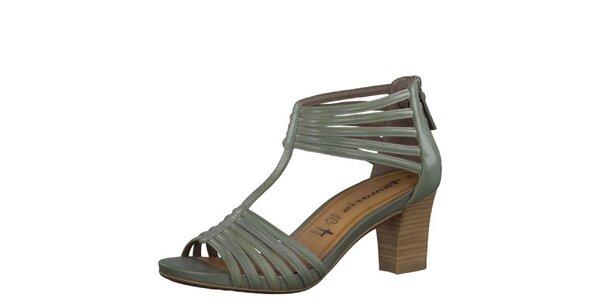 Dámske kožené smaragdové sandále Tamaris