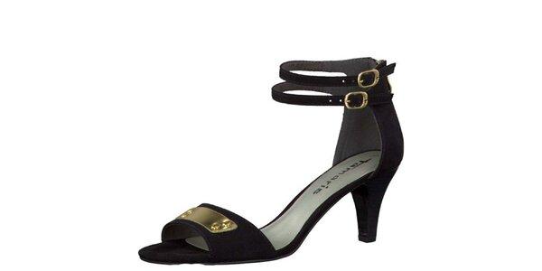 Dámske čierne sandálky so zlatými prackami Tamaris