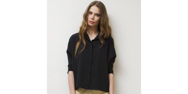 Dámska čierna košeľa s 3/4 rukávmi Mija