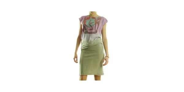 Dámske zeleno-ružové šaty Custo Barcelona s potlačou