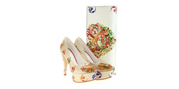 Dámske lodičky a listová kabelka Elite Goby - s farebnými ornamentmi