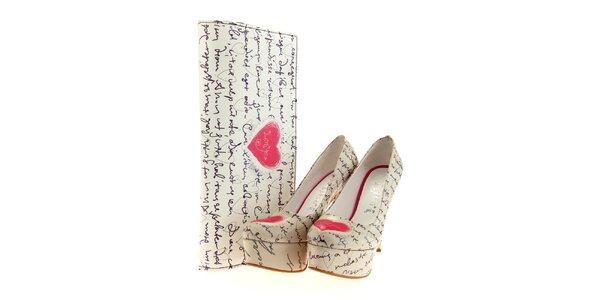 Dámske lodičky a listová kabelka Elite Goby - s milostným dopisom