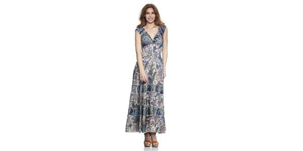 Dámske dlhé modro vzorované šaty Kool