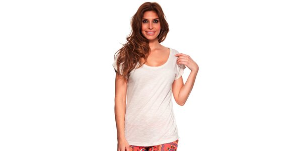 Dámske krémovo biele tričko s okrúhlym výstrihom Kool