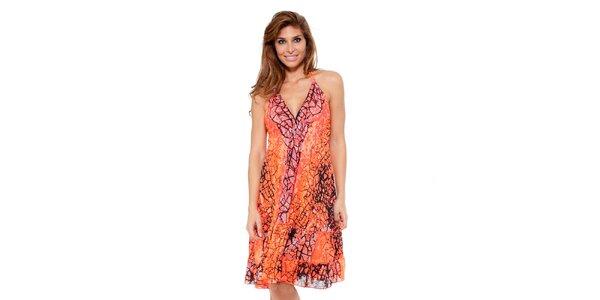 Dámske žiarivo oranžové šaty so zaväzovaním za krkom Kool