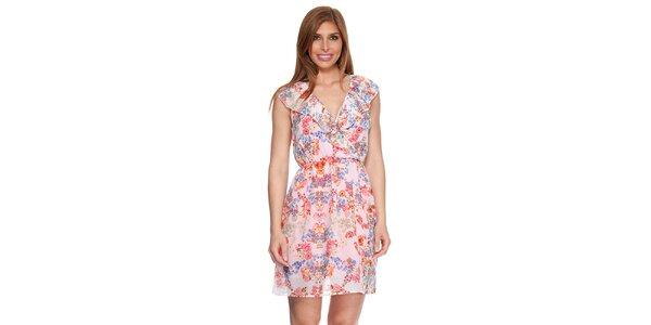 Dámske krémovo biele šaty s kvetinovým vzorom Kool