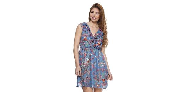Dámske denimovo modré šaty s kvetinovým vzorom Kool