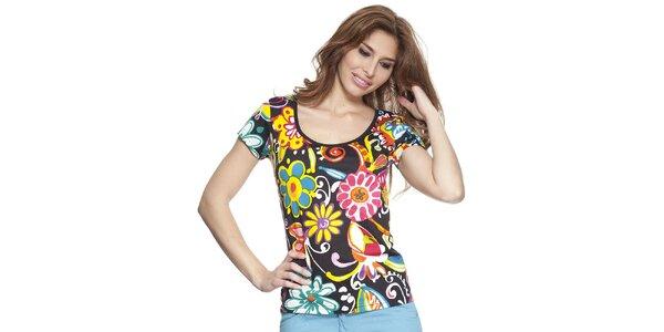 Dámske čierne tričko s kvetinovou potlačou Kool