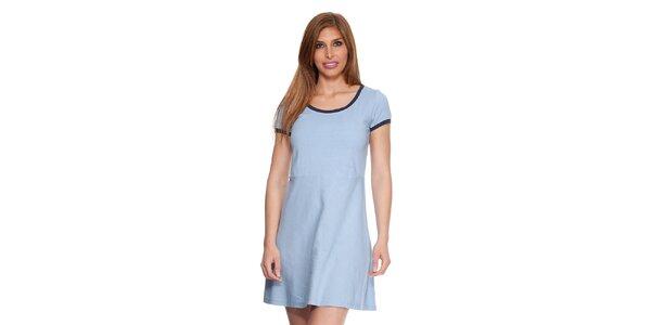 Dámske svetlo modré bavlnené šaty s lemom Kool