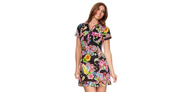 Dámske čierne košeľové šaty s kvetinami Kool