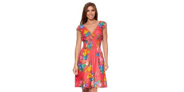 Dámske korálové šaty s kvetinovou potlačou Kool