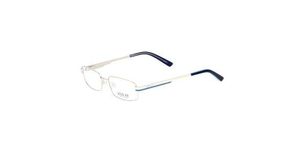 Dámske kovové rámy na dioptrické okuliare Replay s modrým prúžkom