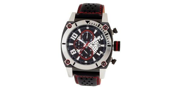 Pánske čierne hodinky s červenými prvkami Wellington