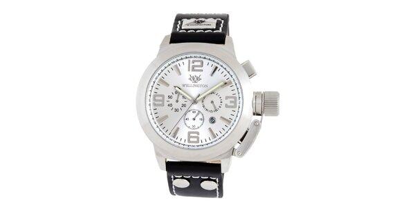 Pánske strieborno-čierne hodinky Wellington