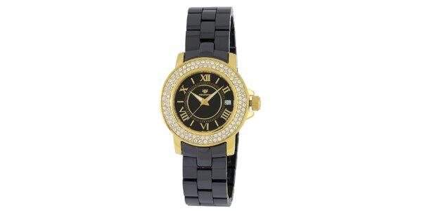 Dámske zlato-čierne hodinky s rímskymi číslicami a kryštáľmi Wellington
