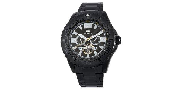 Pánske čierne masívne hodinky s chronografom Wellington