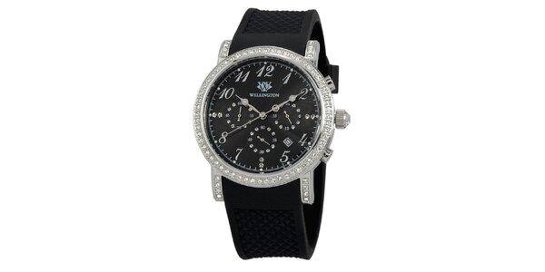 Dámske čierne hodinky s čiernym silikónovým remienkom Wellington