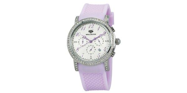 Dámske hodinky s kryštáľmi a lila remienkom Wellington