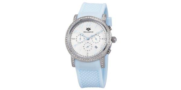 Dámske hodinky s kryštáľmi a svetlo modrým remienkom Wellington