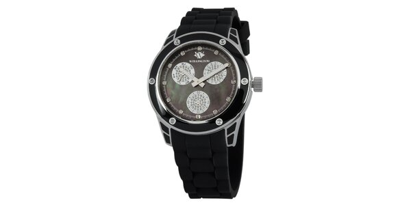 Dámske čierne hodinky so striebornými prvkami Wellington