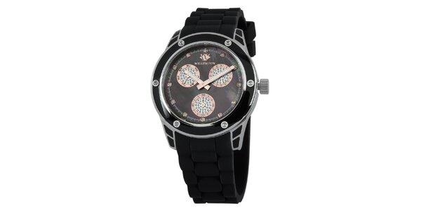 Dámske čierne hodinky s prvkami z ružového zlata Wellington