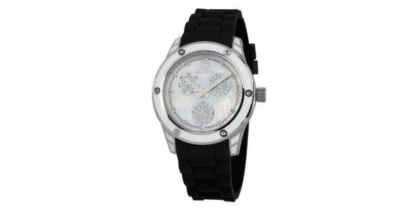 Dámske strieborné hodinky s čiernym silikónovým remienkom Wellington