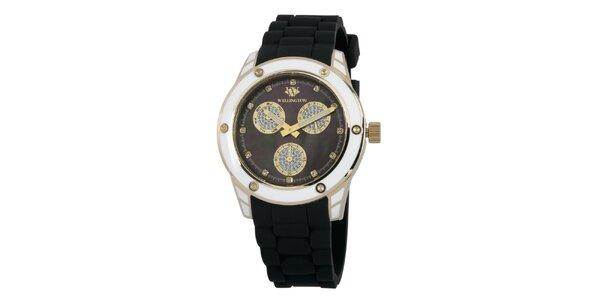 Dámske čierne hodinky so zlatými prvkami Wellington