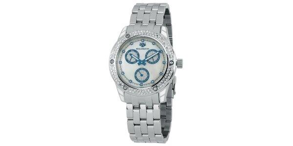 Dámske strieborné hodinky s kryštáľmi a modrými prvkami Wellington