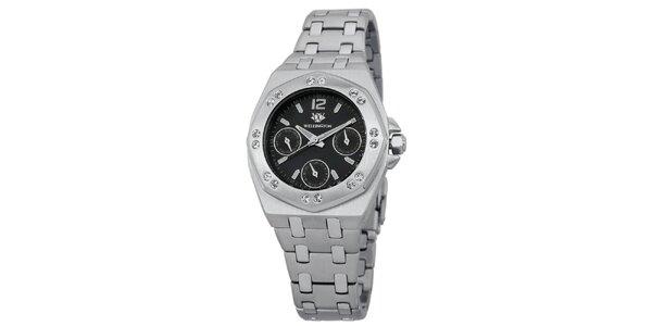 Dámske strieborné hodinky s čiernym ciferníkom kryštáľmi Wellington