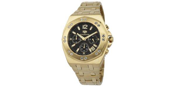 Pánske zlaté hodinky s čiernym ciferníkom a kryštáľmi Wellington