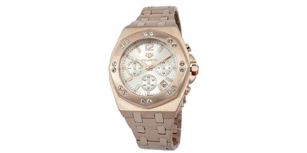 Pánske hodinky vo farbe ružového zlata s bielym ciferníkom Wellington