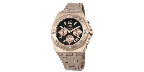 Pánske hodinky vo farbe ružového zlata s čiernym ciferníkom Wellington
