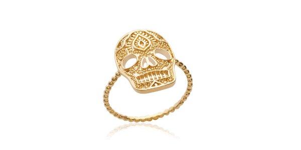 Dámsky pozlátený prsteň v tvare lebky Fifi Ange