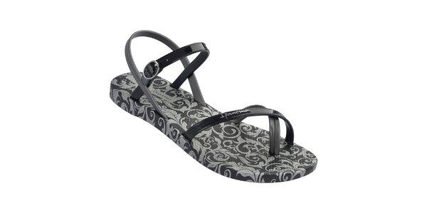 Dámske čierne vzorované sandále Ipanema