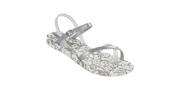 Dámske strieborné vzorované sandále Ipanema