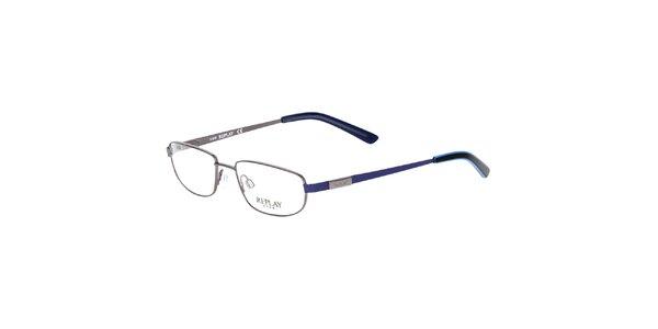 Dámske kovové rámy na dioptrické okuliare Replay s modrými stranicami