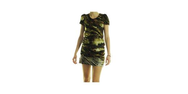 Dámske zelené šaty Custo Barcelona s potlačou