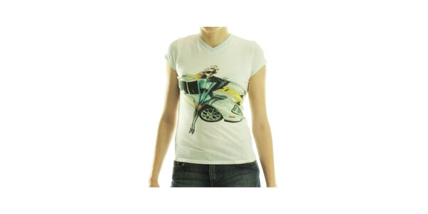Dámske biele tričko Custo Barcelona s potlačou