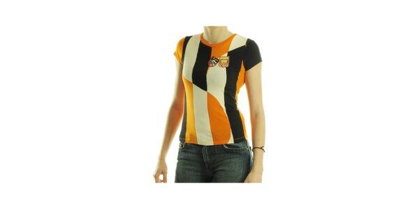 Dámske oranžovo-čierne tričko Custo Barcelona