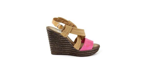 Dámske kožené béžovo-fuchsiové sandálky so širokými remienkami Julie Julie